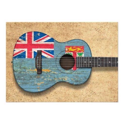 Guitarra acústica envelhecida e vestida da bandeir convite personalizados