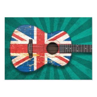 Guitarra acústica envelhecida e vestida da convite 12.7 x 17.78cm