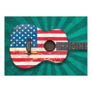 Guitarra acústica envelhecida e vestida de convite 12.7 x 17.78cm