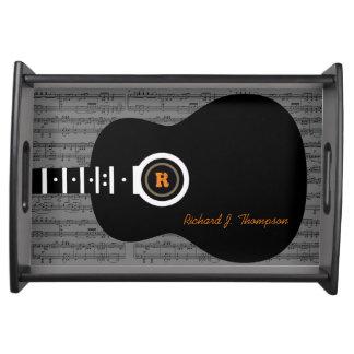 guitarra acústica legal e personalizada bandejas de alimentos