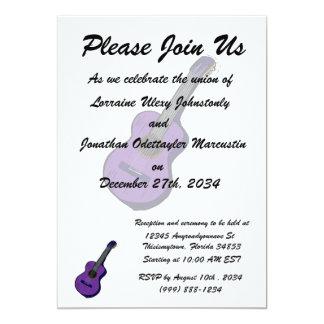 guitarra acústica purple.png simples gráfico convite 12.7 x 17.78cm