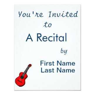 guitarra acústica red.png simples gráfico convite 10.79 x 13.97cm