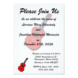 guitarra acústica red.png simples gráfico convite 12.7 x 17.78cm
