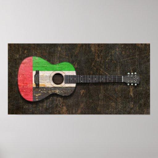 Guitarra acústica riscada de United Arab Emirates Posters