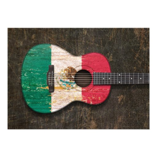 Guitarra acústica riscada e vestida de bandeira me convites personalizado