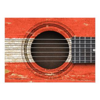 Guitarra acústica velha com bandeira austríaca convites