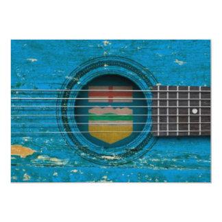 Guitarra acústica velha com bandeira de Alberta Convite Personalizado