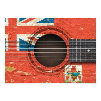 Guitarra acústica velha com bandeira de Bermuda Convites