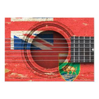 Guitarra acústica velha com bandeira de Manitoba Convites Personalizado