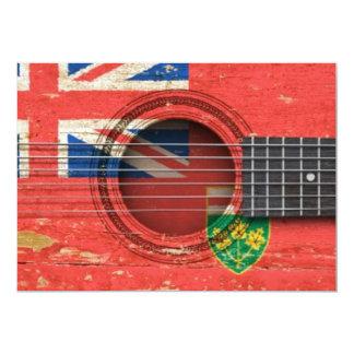 Guitarra acústica velha com bandeira de Ontário Convites Personalizados