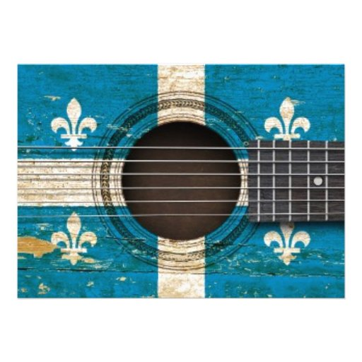 Guitarra acústica velha com bandeira de Quebeque Convite Personalizado