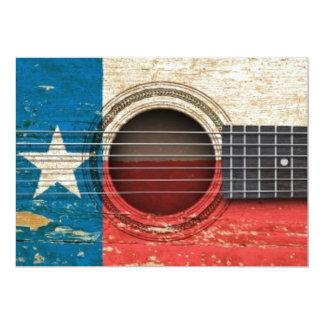 Guitarra acústica velha com bandeira de Texas Convite 12.7 X 17.78cm