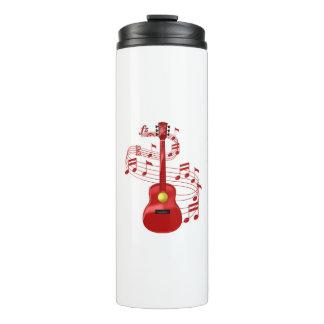 Guitarra acústica vermelha com notas da música