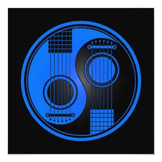 Guitarra acústicas azuis e pretas Yin Yang Convite Quadrado 13.35 X 13.35cm
