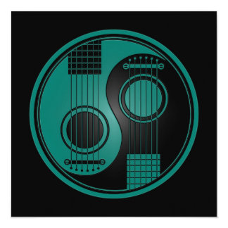 Guitarra acústicas azuis e pretas Yin Yang da Convites Personalizados