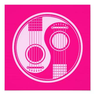 Guitarra acústicas cor-de-rosa Yin Yang Convites Personalizado