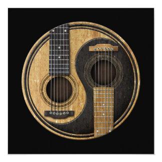 Guitarra acústicas velhas e gastas Yin Yang Convite Quadrado 13.35 X 13.35cm