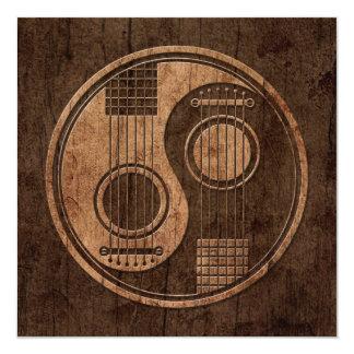 Guitarra acústicas Yin Yang com efeito de madeira Convite Personalizados
