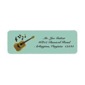 Guitarra clássica etiqueta endereço de retorno