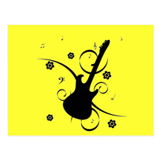 Guitarra com notas musicais cartão postal