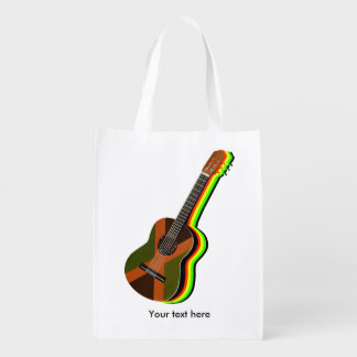 Guitarra da reggae de Rastafarian Sacolas Reusáveis