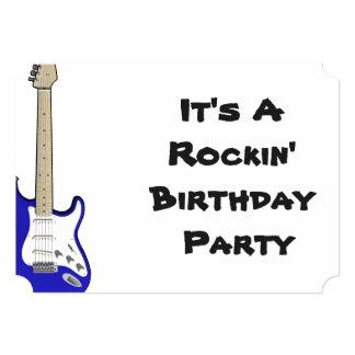 Guitarra do convite do aniversário, a azul e a