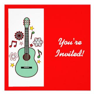 Guitarra do Natal do convite da festa natalícia
