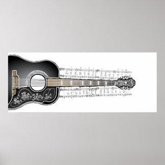 Guitarra do vintage com partitura - impressão do p