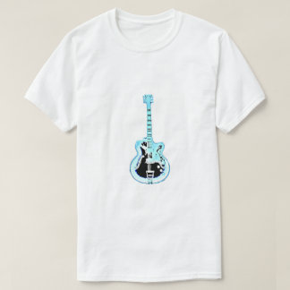 Guitarra do vintage no azul - camisa de T