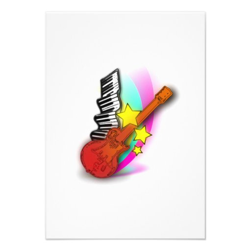Guitarra e piano convite personalizado