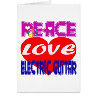 Guitarra elétrica do amor da paz cartoes