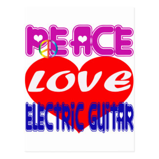 Guitarra elétrica do amor da paz cartoes postais