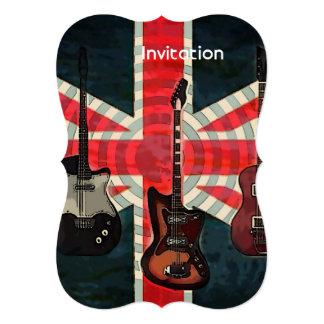 Guitarra elétrica do rolo britânico da rocha da convite 12.7 x 17.78cm