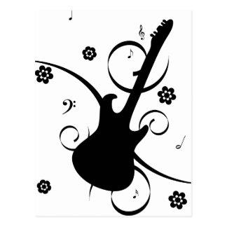 Guitarra elétrica preta com teste padrão floral cartão postal