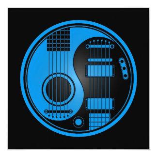 Guitarra elétricas acústicas azuis e pretas Yin Convite Quadrado 13.35 X 13.35cm