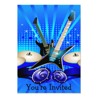 Guitarra elétricas, cilindros & auto-falante azuis convite 12.7 x 17.78cm