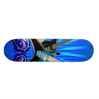 Guitarra elétricas, cilindros & auto-falante azuis skates personalizados