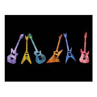 Guitarra elétricas em cores elétricas cartão postal