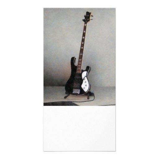 Guitarra preto e branco cartao com foto personalizado