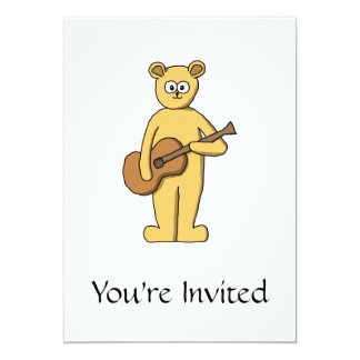 Guitarra que joga o urso convite 12.7 x 17.78cm