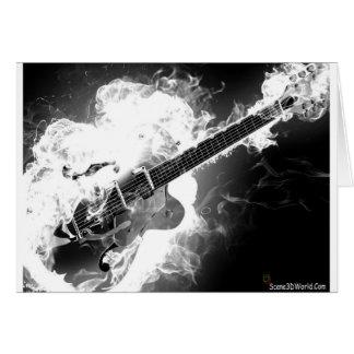 Guitarra Rockabilly elétrica no Monochrome do fogo Cartão Comemorativo