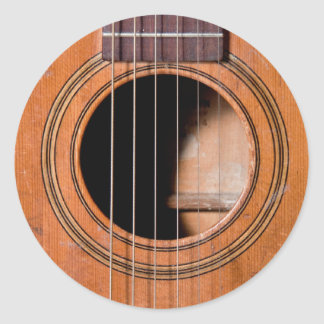 Guitarra rústica adesivos em formato redondos