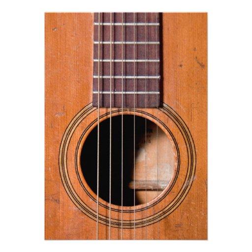Guitarra rústica convite personalizado