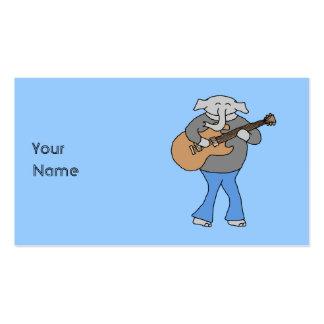 Guitarrista. Elefante que joga a guitarra elétrica Cartão De Visita