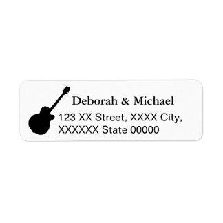 guitarristas pretos & brancos etiqueta endereço de retorno