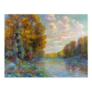 Gustave Loiseau- o rio no outono Cartoes Postais