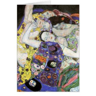 Gustavo Klimt - o óleo de Virgin Cartão Comemorativo