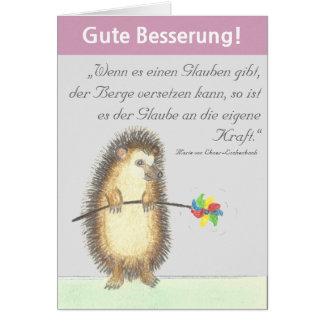 """""""Gute melhora"""" cartão com ouriço pequeno"""