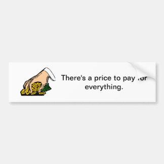 Há um preço para pagar por tudo - a etiqueta adesivo para carro