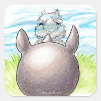 Há um rinoceronte novo em etiquetas da reflexão da adesivo quadrado